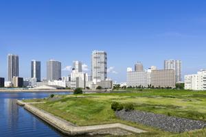 東京湾岸エリア高層タワーマンション群と(有